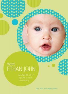 Birth Announcements, Lime Bubbles Design