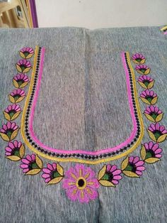 Neck work Aari Embroidery, Embroidery Neck Designs, Hand Embroidery Videos, Embroidery Patterns, Simple Blouse Designs, Blouse Neck Designs, Maggam Work Designs, Textiles, Fancy
