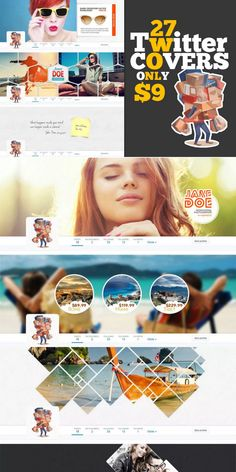 This bundle includes 27 different, high-quality templates, that will help improve your twitter page. #AffiliateLink Twitter Template, Twitter Cover, Cover Design, Improve Yourself, Templates, Stencils, Vorlage, Models, Cover Art