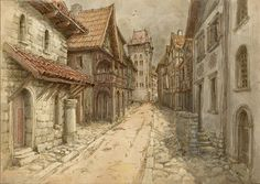 Medieval town by ~Hetman80 on deviantART stairs with wall railing, column under awning, tower at end