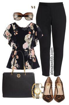 Plus Size Fall Work Outfits - Plus Size Black Pants and Floral Top - Zebra Heels - Nordstrom Anniversary Sale - alexawebb.com #plussize #alexawebb #Nsale