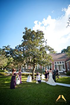 Wedding ceremony under a pretty blue sky.  Tampa, FL.