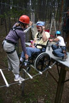 """Challenge by Choice Summer Adventure Camps are based out of Breckenridge, Colorado and are customized for clients over 18 with traumatic brain injuries.  It is a five day program that includes: an accessible ropes course, hand cycling, whitewater rafting, fishing, and hiking with a one-on-one """"buddy""""."""