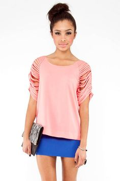 DIY INSPIRATIONAL IMAGE: Shredded Sleeve Top in Salmon $57 at www.tobi.com