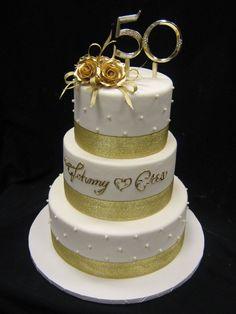 50th Anniversary-Golden Anniversary Cake #goldenanniversary #anniversarycake
