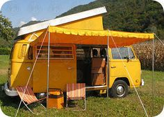 Top Quality Vintage Sun Canopy for VW camper van bus yellow 3 poles