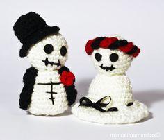 amigurumi halloween terror miedo negro blanco muerte casados matrimonio zombies lana crochet ganchillo
