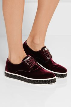 Braided black patent-leather sole measures approximately 30mm/ 1 inch Burgundy…