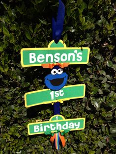 Cookie Monster birthday sign   https://www.etsy.com/listing/126249790/cookie-monstersesame-street-birthday
