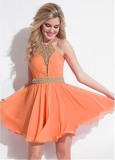 1d7515e00ccc03 Energetic Tulle   Chiffon Halter Neckline A-Line Homecoming Dresses With  Beads
