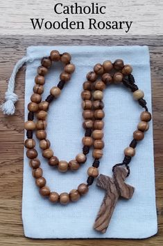 Catholic Rosary with Olive Wood Rosary Beads and Wooden Cross. Handmade Birthday Gifts, Birthday Gift For Him, Anniversary Gifts For Him, Holy Rosary, Rosary Catholic, Catholic Gifts, Rosaries For Sale, Wooden Crosses, Rosary Beads