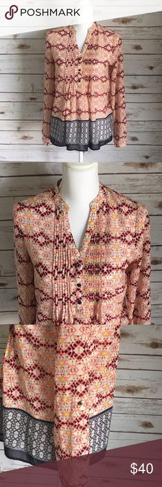 Anthropologie HD in Paris Blouse In excellent used condition, this blouse is full of pretty colors. Sleeves have an inner strap to button them up if you prefer. Anthropologie Tops Blouses