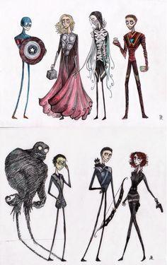 The Avengers ala Tim Burton
