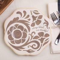 Ever Grateful - Taupe Salad Plate http://www.dayspring.com/home_and_art/home_decor