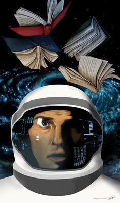 Interstellar illustration by Kitty Rouge  Directed by Christopher Nolan; starring Matthew McConaughey, Anne Hathaway, Jessica Chastain, Mackenzie Foy and Michael Caine.   http://www.imkittyrouge.blogspot.ca/2014/11/interstellar.html