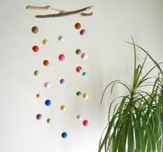 DRIFTWOOD and Colorful FELT BALLS Mobile -- Handmade Nursery Mobile -- Eco Friendly Natural -- Ready to ship and hang