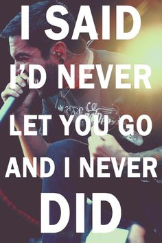 I said I'd never let you go and I never did. I said I'd never let you fall and I've always meant it.  Have Faith In Me- A Day to Remember