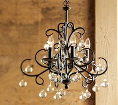 """Dining Room Idea.   Pottery Barn Bellora Chandelier.  $299 (not bad!) 20"""" diameter, 22"""" high; 12' chain.  Five-arm chandelier is crafted of steel with a bronze finish.  Glass crystals.  A generous 12' chain allows the chandelier to be hung in grand entryways and may be professionally shortened to fit any ceiling height.  Top with 5 chandelier shades (sold separately) or use without shades.  UL-listed.  Catalog / Internet Only."""