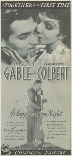 """It Happened One Night"" (1934)  Clark Gable and Claudette Colbert"