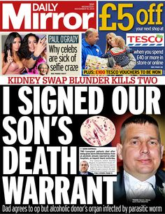 Daily Mirror front page, 19/11/14