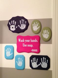 vinyl wall decal bathroom wash hands use soap mom by VinylbyBetsie, $9.95