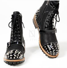 Rebelsmarket studded and belted contrast lace up zipper leather boots 395 boots 30