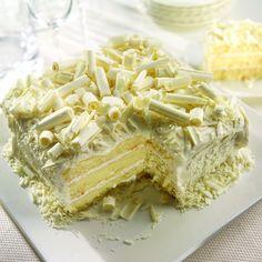 White chocolate layer cake