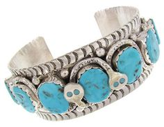 Native American Effie Calavaza Turquoise Snake Bracelet GS57121