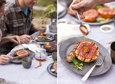 Glamping food: upside down apple cornbread, grilled bratwurst, grilled grapefruit halves with honey and fresh coffee / Lew Robertson