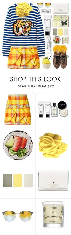 """Stripe&Plaid"" by barbarela11 ❤ liked on Polyvore featuring Delpozo, Bobbi Brown Cosmetics, Round Towel Co., Moleskine, Monocle, Kate Spade, Ray-Ban, Miller Harris and Paper Mate"