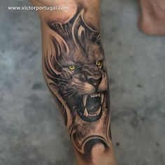 Lion tattoo designs have grown popular because of its meaning and its great aesthetic value. Below, we are going to mention angry lion tattoo ideas & designs. Lion Head Tattoos, Leo Tattoos, Future Tattoos, Animal Tattoos, Body Art Tattoos, Tattoo Art, Lioness Tattoo, Tiger Tattoo, Lion Tattoo Sleeves
