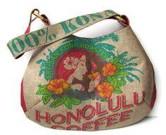 Honolulu Coffee Island Girl Burlap Hobo Handbag. Repurposed Coffee Bag. Handmade in Hawaii.