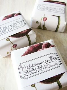 Mediterranean Fig Shea Butter Soap - love the packaging Fruit Packaging, Pretty Packaging, Beauty Packaging, Brand Packaging, Cosmetic Packaging, Savon Soap, Shea Butter Soap, Perfume, Packaging Design Inspiration