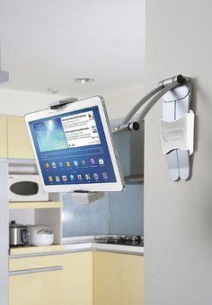 CTA Digital Kitchen Tablet Stand and Adjustable Wall Mount - for iPad Pro for sale online Cool Kitchen Gadgets, Cool Kitchens, Cheap Apartment For Rent, Tablet Stand, Tablet Holder, Diy Vanity, Old Doors, Interior Design Tips, Smart Home
