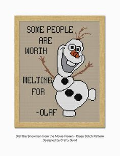 Free cross stitch pattern of Olaf, the snowman from the Disney Movie, Frozen. He loves warm hugs, and SUMMER.