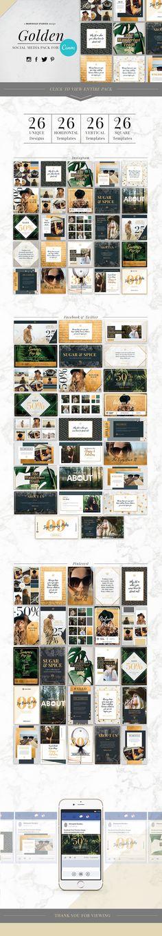 GOLDEN | Canva Social Media Pack by Marigold Studios on @creativemarket