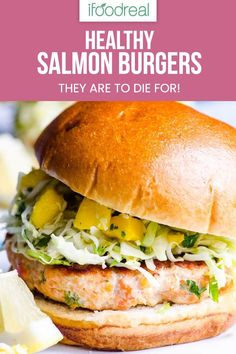 Easy and healthy Salmon Burger Recipe with fresh salmon and crunchy mango slaw. One secret ingredient replaces breadcrumbs to make burgers gluten free and cheaper. Your kids will lick the plates! Dog Recipes, Burger Recipes, Clean Eating Recipes, Real Food Recipes, Family Recipes, Lunch Recipes, Healthy Grilling Recipes, Healthy Family Meals, Healthy Breakfast Recipes