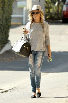 grey sweater, boyfriend jeans