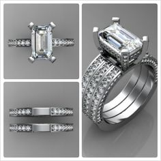 Custom Diamond Engagement Ring With Enhancer Bands in Platinum!