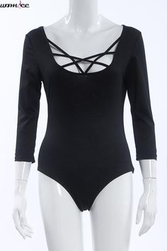 Summer Autumn Women Bodysuits 3 4 Sleeve Solid Bandage Romper Mini Sexy  Rompers Womens Jumpsuit d4d7dc7e7