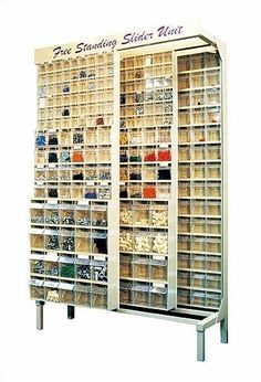 The Free Standing Slider System offers 2 fixed panels in the back and 2 sliding panels to allow complete access to all Bead Storage, Craft Room Storage, Storage Shelves, Storage Spaces, Shelving, Craft Rooms, Storage Ideas, Storage Systems, Craft Storage Furniture