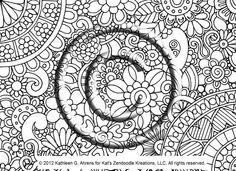 Instant Download Coloring Page Hand Drawn Zentangle Inspired Eye