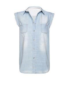 MANGO - Washed denim shirt
