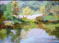 Georgia Landscape-Riverbank Reflections by Deanna Jaugstetter Oil on Canvas-6 x 8-Available
