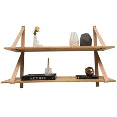 Leather Strappy Bookshelf-Natural