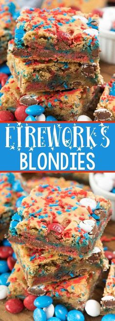 Fireworks Blondies - Crazy For Crust - this EASY blondie recipe is the BEST EVER COOKIE BAR! It's so soft and perfect with any additions, but especially with of July M&Ms and sprinkles! 4th Of July Desserts, Fourth Of July Food, Köstliche Desserts, Holiday Desserts, Holiday Treats, Holiday Recipes, Dessert Recipes, 4th Of July Deserts Ideas, Fourth Of July Recipes
