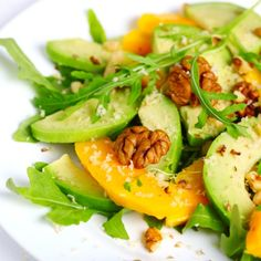 Add slices of avocado to your next salad. It pairs nicely with fruit, try: Mango and Avocado Arugula Salad Avocado Recipes, Raw Food Recipes, Salad Recipes, Cooking Recipes, Healthy Recipes, Easy Recipes, Amazing Recipes, Free Recipes, Cooking Tips