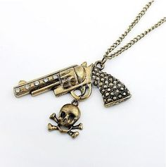 Fashion American Style Pistol/Gun Skull Vintage Necklace