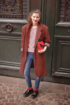 Lady Moriarty. topper, stripes, denim and docs.