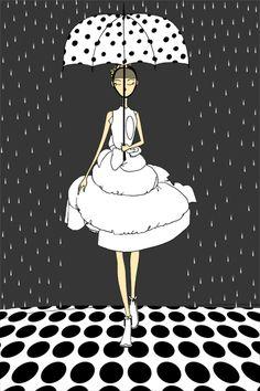 Il pleut des petit pois. Georgiana Umbrella Painting, Rain Umbrella, Under My Umbrella, Fashion Illustration Sketches, Illustration Art, Art Illustrations, Arte Black, I Love Rain, Dots Fashion